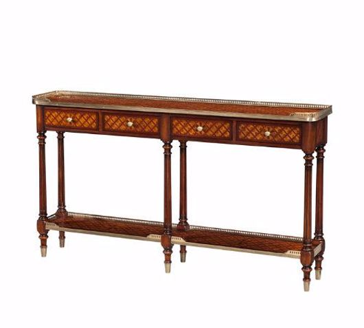 Picture of A BURL LATTICE PARQUETRY, BRASS MOUNTED CONSOLE TABLE